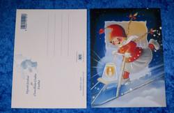 Joulukortti tyttötonttu vie potkukelkalla jäälyhtyä