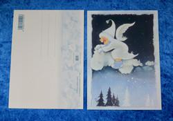 Postikortti Enkeli ratsastaa pilven päällä lumisateessa