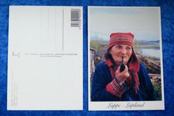 Postikortti Saamelaiset vanha nainen piippu huulessa