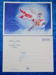 Joulukortti porokiidättää tonttua lumessa. KIITÄJÄT