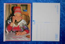 Postikortti Soitellaan - Let´s call! Nainen saamelaispuvussa