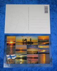 Postikortti järvi ja keskiyön aurinko pikku kuvia, Suomen lippu