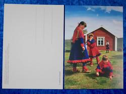 Postikortti Tunturisaamelaisia tyttöjä Utsjoen Kirkkotuvilla