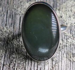 Sormus: Obsidiaani 20,4mm,  vihertävä, säädettävä, Unikki