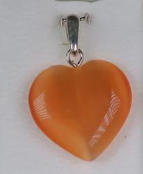 Riipus: Sydän oranssi kuitulasi, riipuslenkki 925 -hopea