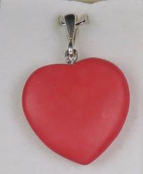 Riipus Sydän kalkkikivi, punainen värjätty, riipuslenkki 925 -hopea