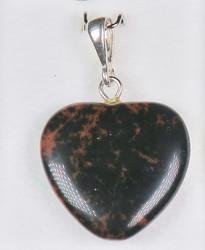Riipus: Mahonkiobsidiaani sydän, riipuslenkki 925 -hopea