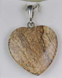 Riipus maisemajaspis sydän, riipuslenkki 925 -hopea