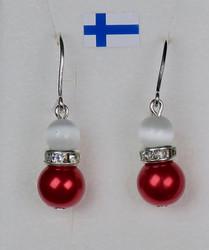 Korvakorut: joulukorut, punavalkoinen, zirkonikoristein