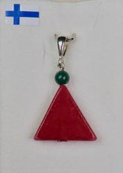 Riipus punainen kvartsiitti tonttulakki vihreä tupsu, kiva joulukoru
