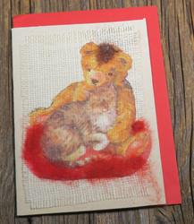 Postikortti ja kirjekuori: Nalle ja kissa, huovutettu tyyny (NAL1)