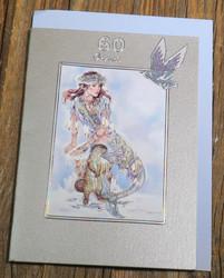 Postikortti ja kirjekuori 60v onnea, merenneito ja saukko m60b