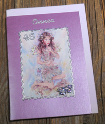 Postikortti ja kirjekuori: 45v onnea, lumikeiju (koristeltu lasihelmin) k451
