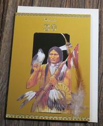 Postikortti ja kirjekuori: 30v onnea, intiaani ja haukka (3-D) i30a