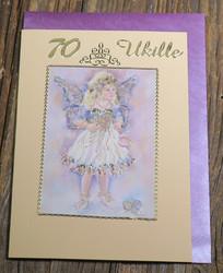 Postikortti ja kirjekuori: 70v, ukille, lumikeiju, onnenkivet (k70b)