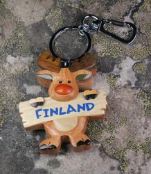 Avaimenperä Hirvi Finland-kyltti, puuta