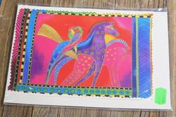 Postikortti ja kirjekuori: Hevoset, lila ja pinkki + papukaijat, iso kortti 21x15cm (pk204)