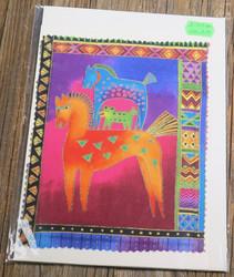 Postikortti ja kirjekuori: Hevoset,oranssi ja turkoosi, iso kortti 21x15cm (pk206)