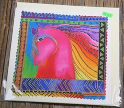 Postikortti ja kirjekuori: hevonen, pinkki, sateenkaariharja, 15x15cm (pk102)
