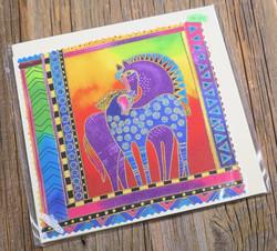 Postikortti ja kirjekuori: hevoset, lila ja sininen, 15x15cm (pk104)