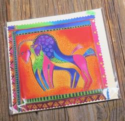 Postikortti ja kirjekuori: hevoset, kirjava pari 15x15cm (pk107)