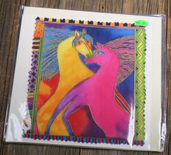 Postikortti ja kirjekuori: hevoset, pinkki ja kulta, 15x15cm (pk101)