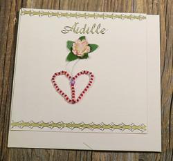 Postikortti ja kirjekuori: Äidille, sydän ja kukka  (äitienpäiväkortti) säi1