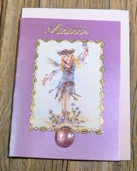Postikortti ja kirjekuori: Äidille, lapsikeiju ojentaa kukkia (äitienpäiväkortti) käi1