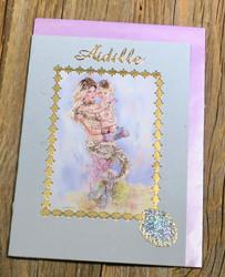 Postikortti ja kirjekuori: Äidille, merenneito ja lapsimerenneito rannalla  (äitienpäiväkortti) mäi2