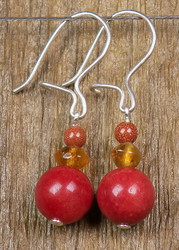 Korvakorut punainen kvartsiitti8mm,  sitriini, kultavirta4mm Ruska1