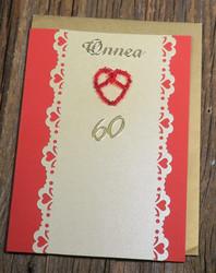 Postikortti ja kirjekuori: 60v, sydän (helmistä punottu hopealankaan) s60a