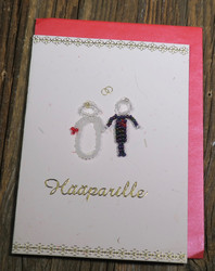 Postikortti ja kirjekuori: Hääparille  (helmistä punottu hopealankaan) hää1