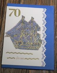 postikortti ja kirjekuori: 70v onnea, laiva (L70a)