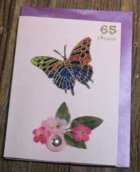 Postikortti ja kirjekuori: 65v onnea perhonen ja kukat (p65a)