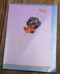 Postikortti ja kirjekuori: 55v onnea ruusu (r55a)