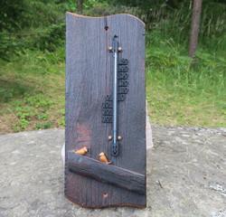 Lämpömittari Linnut, poltettua puuta, musta 42x17cm