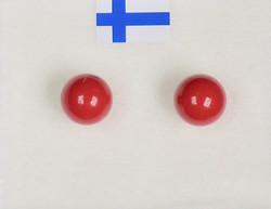 Nappikorvakorut helmiäinen joulunpunainen 6mm
