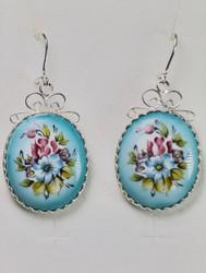 Korvakorut: emalikoru kukat, isot, pituus 3cm, hopeoitu, koukut 925-hopea