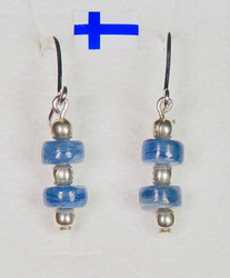 Korvakorut: kyaniitti, sininen (20s), hopeapallot