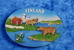 Magneetti: Suomi-Finland, maisema, eläimet, suomenlippu, n.53x73mm