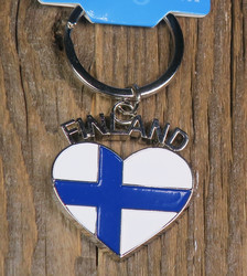 Avaimenperä: Suomenlippu sydän, metallia, 35mm +lenkit