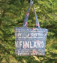 Kassi: canva bag s-koko, ruusut Finland, siniharmaa (f3d)