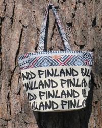 Kassi: canva bag s-koko, Finland, luonnonvaalea, värikäs somiste (f3c)