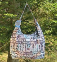 Olkalaukku city bag, Finland, mintunvihreä/ruskea lehtikuvioita f1h