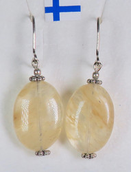 Korvakorut sitriini, litteä 13x17mm, 925-hopea