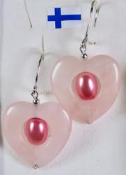 Korvakorut ruusukvartsisydän 20mm, sisällä pinkki helmi
