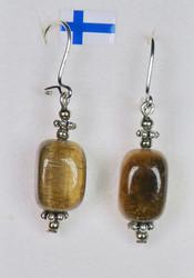 Korvakorut tiikerinsilmä kulmikas 925-hopeakoristein