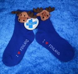 Sukat pehmohirvi lasten sukat, koko 27-30 sininen, kids