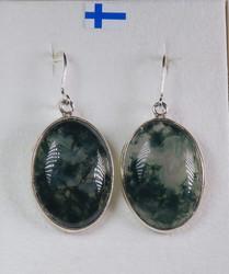 Korvakorut: Sammalakaatti, ovaali 18x24mm, 925-hopea-silver (oval2)