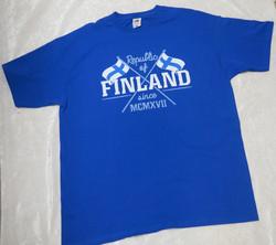 T-paita Finland, suomen liput ristissä, royal sininen suomipaita